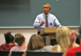 Hank Eng (cq), Democratic candidate for Congress, 6th District, talks to students in a civics...