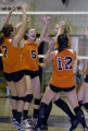 DM1605  The Lakewood Tigers, from left Luiza Griz #7, Rachel Gillcrist #5, Katie Rosa #10 and...