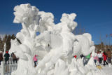 "Team China's ""Hunting in Winter"" snow sculpture, which won first place in the 2008 18th..."