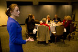 Lauri Clapp (cq), who is running for state senate district 26, speaks to the Littleton Republican...