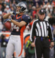 JPM676 Denver Broncos Brandon Stokley celebrates his touchdown as a referee looks on against the...