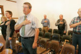 0035 Robert Thomasson, one of the few Democrats in Elbert County, attends a Board of County...