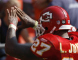 JOE1296 Kansas City Chiefs Kansas City Chiefs' Larry Johnson gestures to the fans after his...
