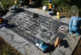 The headstone of 7-year-old Chandler Grafner lies at Mt. Olivet Cemetery in Wheatridge, as...