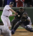 ALCS174 - Boston Red Sox's J.D. Drew his the game winning RBI single against Tampa Bay Rays...