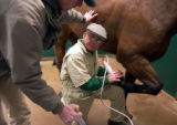 (LITTLETON, Colo., Dec. 23, 2004) Dr. Marvin Beeman ( right) and Dr. Dean Morgan, (left)  work on...