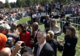Michelle Obama shakes hands with supporters on the University of Colorado campus at Farrand Field...