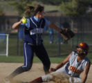 Ralston Valley's Kelley Reves SS outs Rocky Mountain's Crystal Summers in the 7th in the 5A semi...