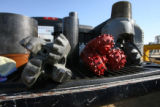 Drill bits used by Anadarko Petroleum Corpoation sit on the back of a pickup, Thursday morning,...