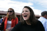 Dianna DeGette talks with supporters at a Rally For Hilltop Democrats, a backyard gathering in...