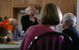 Marilyn Musgrave explains the 'bail out' at a picnic in her honor at a home in Greeley, Colo....