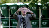 Denver Mayor John Hickenlooper, talks about the virtues of recycling as he kicked off Denver's...
