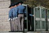 (PG10456) Over a hundred law enforcement officials pay their respects before a funeral service for...