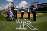 BG0011 Winners of the Rockies Fan Fare Challenge from left  Cal Fager, Denise Retzlaff, Susan...