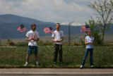 (PG8385) Kris (left), Christian, 14, (center) Katelyn Fahrenbruck, 12, of Fort Collins, Colo.,...