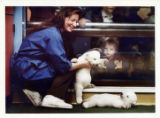 Cindy Bickel holds Klondike while Snow rests on her back. The boy is Michael Neward, 18 months...