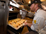 "(Denver, Colorado, May 1, 2008) Craig Luckmann checks to see that the ""Sausage Squeeze..."