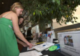 (Denver, Colorado, May 3, 2008) Elizabeth McCabe and Aimee Wagstaff peruse items during the silent...