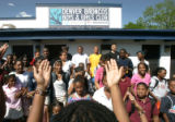 BG0104 Children grom the Denver Broncos Boys and Girls Club attend the official dedication of a...