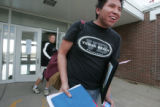 Emilio Lone Elk, leaves his school, Prarie High School R-11  west of Sterling Wednesday afternoon...