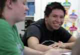 Emilio Lone Elk, enjoys his Spanish class at his school, Prarie High School R-11  west of Sterling...
