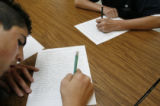 Cesar Rodriguez-Alaniz (cq) sits in detention along other school mates at the West Denver Prep...