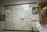 A map in the hallway of the Noble Street Charter High School Campus in Chicago. The map give you...