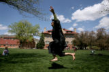 (PG4885) Thomas Wells, of Bois D'Arc, MO., tries to balance on a slackline on the campus of...