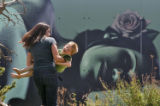 4 year-old Ben Ornelas (cq) plays with her mother Nicole Ornelas (cq) at the Denver Botanical...
