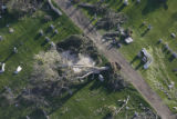 JOE1129 Aerial view on Friday morning, May 23, 2008 of parts of Windsor, Colo., that was hit by a...