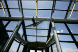 The lobby an airplane model hangs over head at Front Range Airport in Watkins, Colo.  May 12,...