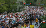 Runners head up a hill on Folsom Rd, Monday morning, May 26, 2008,at the Bolder Boulder,  Boulder....