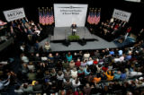 ({seqn)} Sen. John McCain addresses a crowd at the Cable Center at the University of Denver in...