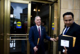 Governor Howard Dean (cq) walks out of Lannie's Clocktower Cabaret in Denver. Dean spoke at a...