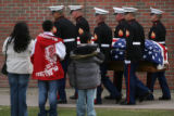 CODER101  Marines carry the coffin of Srgt. Glen Martinez, 31, Tuesday 05/13/08 before the start...