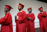 EJ239  East High School seniors, left to right:  Martin Kimoni, Marshae Burton, Jarrod Jones, and...