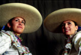 (DENVER, CO., JANUARY 8, 2005) Mexican Rodeo Side Saddle Riders Noraliza Gomez, 16, and her aunt...