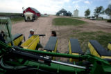 Dan and Peggy Brown, longtime Yuma County farmers ready their corn planter at their farm May 8,...