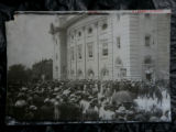 A photograph of the Audtorium Theater with a crowd outside of the DNC 1908 is a part of the...