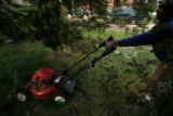 DM0204  Terry Smith mows the lawn of his house at 5301 W. 10th Ave. in Lakewood, Colo. His...
