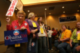 (PG6794)  People stand in line to make their pitch for election to national delegate for...