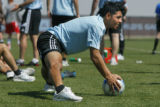 Christian Gomez is on the ball at practice at Dick's Sporting Goods Park in Commerce City, Colo....