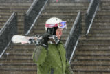 Conn Barrow (cq), Atlanta, heads to his car after having a powder day at Loveland Basin, Thursday...