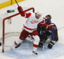 [RMN924] Detroit Red Wings right wing Tomas Holmstrom #96 celebrates his second period goal as...
