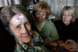 "88 year old  Aleon DeVore, wears her ""I Voted"" sticker on her forehead, October 22,..."