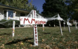 There aren't may political signs in the Precinct 10 neighborhood but Halloween displays abound in...