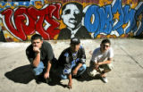 Graffiti artist, Noe Salido (cq),19,, Cris Balderas (cq), 19, and Paul Trujillo (cq), 16, left to...