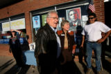 (PG11684) Former Gov. Roy Romer talks with Pam Shaddock before attending a campaign office opening...