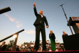 (CS712) Republican Presidential candidate John McCain waves to voters at a rally of more than...