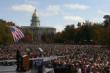 MJM399  Presidential candidate, Barack Obama addresses a large crowd Sunday 10/26/08 at Civic...